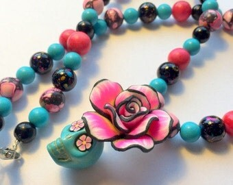 Sugar Skull Necklace Day of the Dead Beaded in Pink, Black and Turquoise