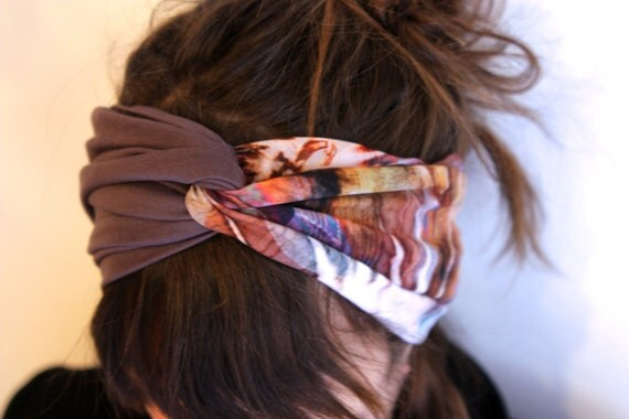 Headband-Turban spirit Retro bicolor to patterns blur purple-gray viscose and Taupe Jersey-purple