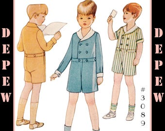 Vintage Sewing Pattern Boys' 1920s Romper Suit #3089 - INSTANT DOWNLOAD PDF