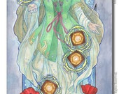 Art Print Lady of August Priestess Shrine Maiden with Obon Floating Lanterns and Poppies Art Nouveau Birthstone Series Painting