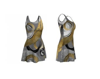 Flowy Stretchy Flare Dress in Modern Rough Rings and Circles Gold Look Black and White on Lined Grey