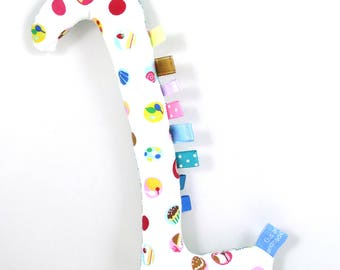 Handmade Taggy Giraffe Tactile Baby Toy - dessert & teal bricks