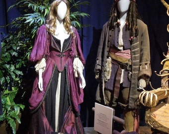 Custom made His and Her 5 piece ensemble Jack Sparrow and Elizabeth Swann 3 piece set chemise. overdress with corset and under dress