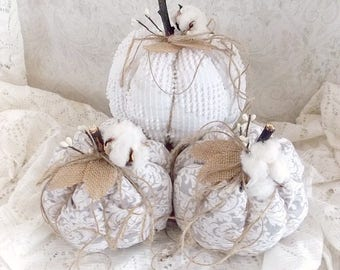 Shabby Cottage Chic Rustic Cotton Stem Grey Damask and Vintage Chenille Tattered Fall Holiday Fabric Pumpkins Set of 3