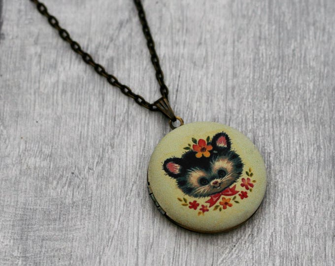 Kitten Locket Necklace, Cat Necklace, Woodland Jewelry