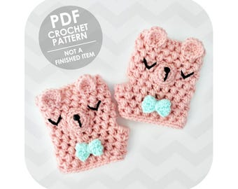 fingerless gloves crochet pattern - fingerless mittens - cute bear gloves - crochet animal gloves - hand warmers - texting gloves