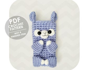 crochet pattern - crochet phone sleeve alpaca pattern - phone cozy - alpaca llama - cute animal - crochet phone cozy pattern