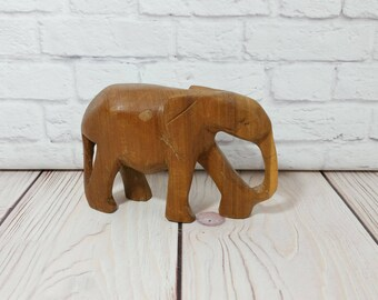 Vintage Carved Wood Elephant Statue Figure