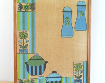 Vintage Kitchen Cork Board • Message Board Cork 1970's