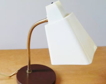 Gooseneck Desk Lamp • 1960's Vintage Lamp • Brown and White Plastic Shade