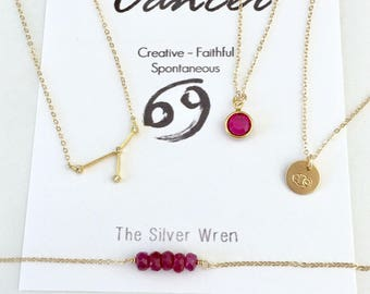 Cancer Zodiac, July Birthstone Necklace, Ruby Necklace, July Birthday Gift, Zodiac Cancer Constellation, Zodiac Jewelry, Gift for July