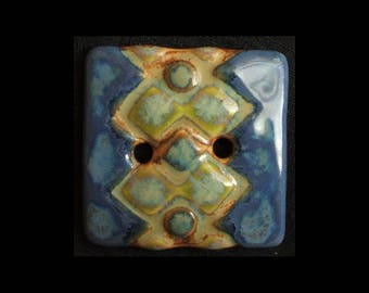 Handmade Ceramic Button: Sea Blues and Greens on Translucent White Porcelain