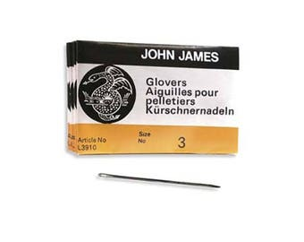 John James Glovers Needles Size 3 43607 Size 3 Leather Needles, Glovers Bulk Pack Needle, Craft Needles, John James Needle L3910