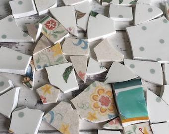 Mosaic Tiles - Green Polka Dot Sage Mint Floral 50 + Pieces Hand Cut Broken China