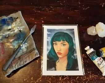 Mini Print - The Oracle - alt goddess, alternative deity, green hair, septum and lip piercings