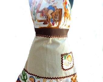 ladies' full apron, Pinups apron, western apron, retro rockabilly apron, adjustable apron, women's apron, washable apron, rockabilly costume