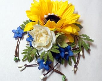 sunflower hair clip, sunflower hair comb, yellow flower hair clip, royal blue flower, yellow and blue hair accessories, rustic wedding