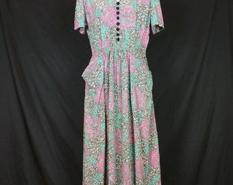 Vintage Gray Pink Mint Green White Floral Print Day Dress Misses S 40s