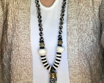 Long Black and White Beaded Necklace with Tibetan Horn Pedant-Long Boho Beaded necklace with Horn-Horn Necklace-Celeste Lauren