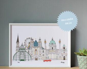 Vienna Print A4 - SECONDS SALE - Vienna Illustration - Vienna Architecture - Vienna Cityscape - Wall Art