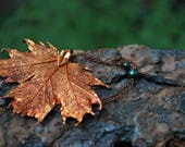Medium Fallen Copper Maple Leaf Necklace | REAL Maple Leaf Pendant | Electroformed Copper Maple Leaf Charm | Nature Jewelry