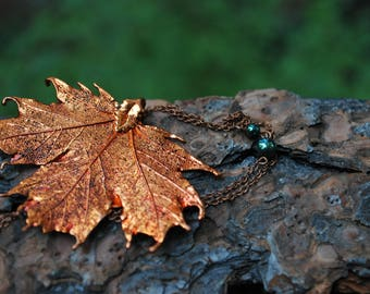Medium Fallen Copper Maple Leaf Necklace   REAL Maple Leaf Pendant   Electroformed Copper Maple Leaf Charm   Nature Jewelry