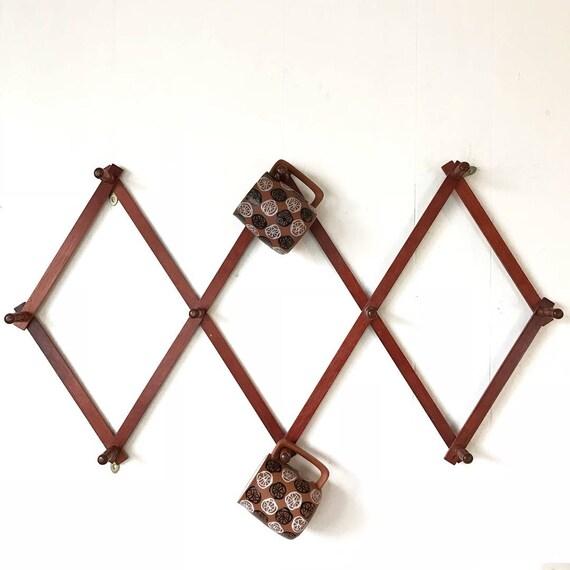 vintage peg rack - cherry wood accordion mug cup holder - farmhouse kitchen - boho cottage kitchen decor