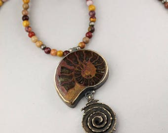 This too shall pass - ONE OF A KIND necklace hand carved in bronze, silver, adorned with an ammonite, garnets and jaspers, spirals and eyes