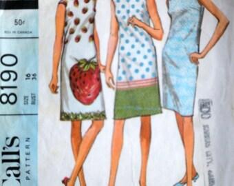 Vintage 60's McCall's 8190, Misses Shift Dress For Border Prints, Size 16, 36 Bust, Mad Men Mod 1960's Fashion