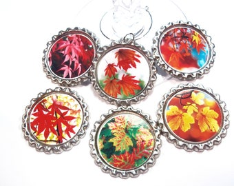 Autumn Leaves Wine Glass Charms