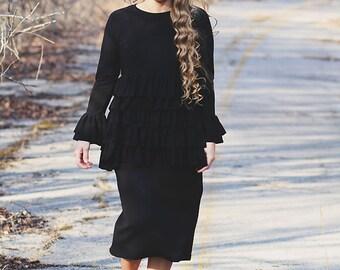 LillyAnnaKids Ladies Noir ALEXANDRIA Ruffle Shirt Top Modest