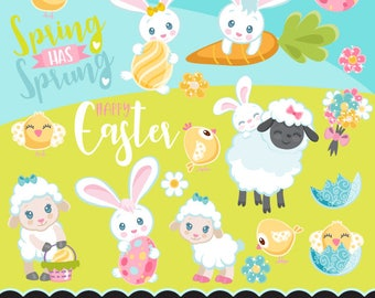 Easter clipart. Cute Spring animals graphics, baby bunny, chick lamb egg Lettering party printables, digitized embroidery, planner stickers,
