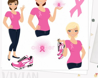 Breast cancer girl character clipart, woman october charity support month, digital png clip art, blonde, brunette and auburn (Vivian L281)
