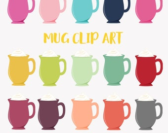 Coffee mug clipart, whipped cream topping, hot chocolate, latte, coffee break, hot drink, 20 color set, commercial use digital png (LC37)