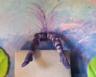 Purple and pink tie-dye thigh high socks
