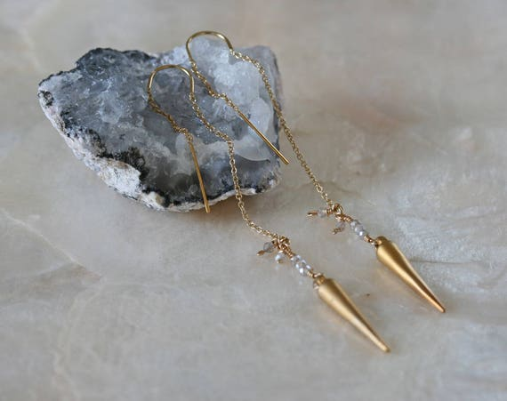 Gold Spike Threader Earrings with Labradorite Accents