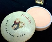 Vintage 1940s Jergens Velvet Make-up Cake Vargas Girls  Milk Glass Compact 40s The Andrew Jergens Company Retro Collectible Advertising