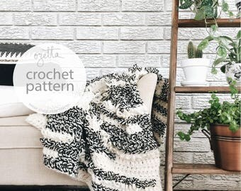 Crochet Pattern / Chunky Blanket Throw, Afghan, Textured Loop Blanket / THE MUIR Blanket