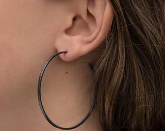 Sterling silver hoop earrings, narrow, 55mm