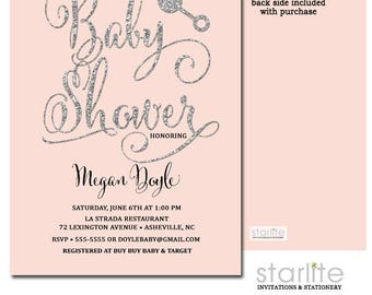 Pink and Silver Glitter Baby Girl Shower Invitation | Pink Silver Rattle Shower Invite | Girl Baby Shower Invitation | Printable or Printed