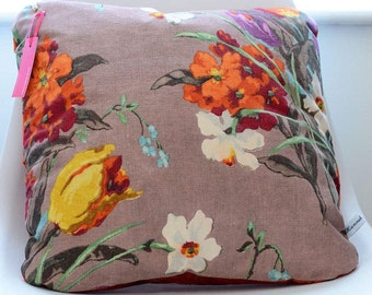 Floral Vibrant Cushion - Vintage fabric - Screen Printed - Duck Feather Insert