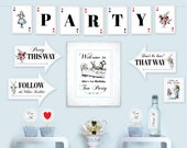 Alice in Wonderland printable party kit DiY party printables complete basic party kit birthday party décor essentials editable PDF files