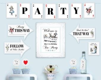 Alice in Wonderland printable party kit DiY party printables basic party kit birthday party décor essentials editable PDF files