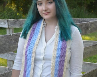 Crocheted striped scarf with fringe