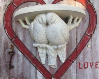 Lovebird Shelf in Metal Heart Frame on Barn Wood