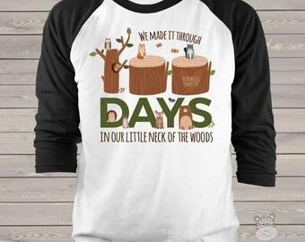 Teacher shirt - 100 Days Smarter - woodland animals hundred day raglan shirt for teachers   MSCL-127-r