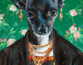 CHIHUAHUA as Frida Kahlo, digital downloads for you to print, from my original oil painting, 5 sizes