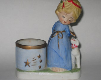 Angel Bisque Candle Holder Lamb Porcelain Luvkins Jasco 1978 Vintage