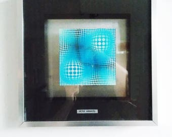 original vintage 1970s Victor Vasarely exhibition poster / 70s abstract Op Art  lithograph/ framed geometric fine art print
