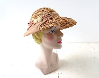 Vintage 1930s Hat | Straw Hat | Summer Hat